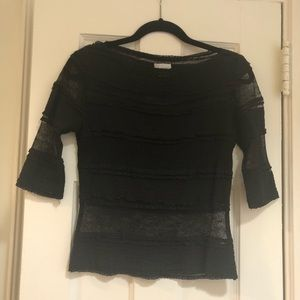 Miguelina Black Lace Top